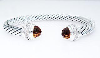 David Yurman Sterling Diamond Citrine 7mm Cuff Bracelet