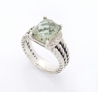David Yurman Wheaton Petite Prasiolite 0.08tcw Diamond