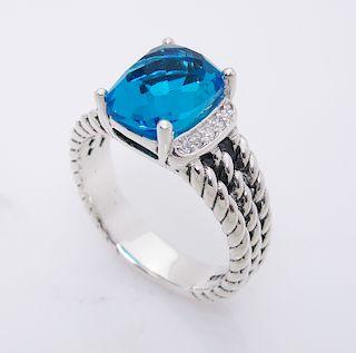 David Yurman Wheaton Petite Blue Topaz 0.08tcw Diamond