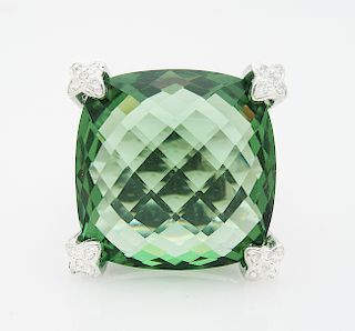DAVID YURMAN Cushion On Point 20mm Prasiolite Diamond