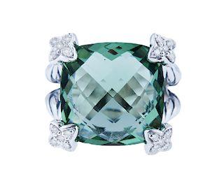 DAVID YURMAN Cushion On Point 15mm Prasiolite Diamond
