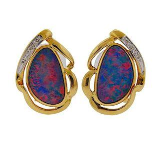 18K Gold Diamond Opal Earrings