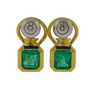 18K Gold Diamond Emerald Earrings