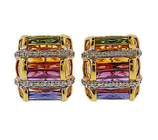 Bellarri 18K Gold Diamond Multi  Gemstone Earrings
