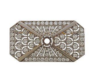 Art Deco Platinum Gold Diamond Brooch