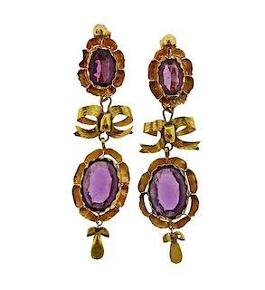 Antique 18K Gold Amethyst Earrings