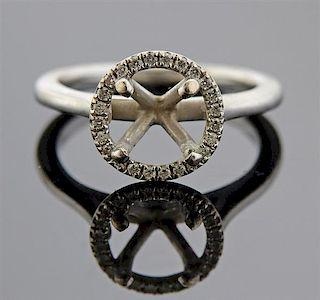 14K Gold Diamond Halo Ring Mounting