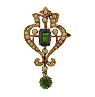 Antique 15K Gold Pearl Green Stone Brooch Pendant
