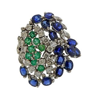 18K Gold Diamond Color Gemstone Cocktail Ring