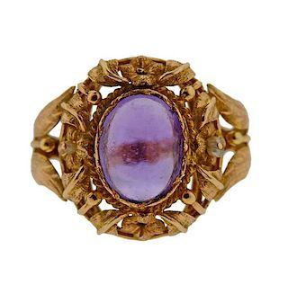 18K Gold Amethyst Ring