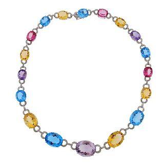 14K Gold Diamond Multi Color Stone Necklace