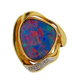18K Gold Diamond Black Opal Ring
