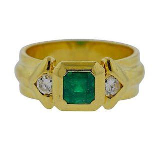 18K Gold Diamond Emerald Half Band Ring