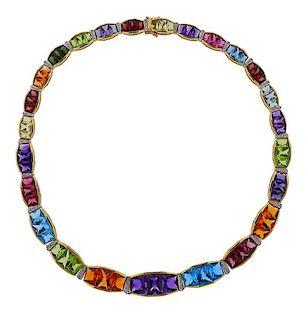 18K Gold Diamond Gemstone Necklace