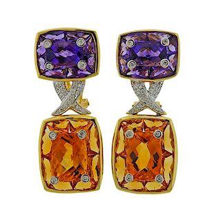 18K Gold Diamond Amethyst Citrine Earrings