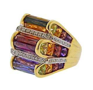 Bellarri 18K Gold Diamond Multi Gemstone Ring