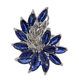18K Gold Diamond Sapphire Ring