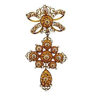 Antique 18K Gold Pearl Pendant