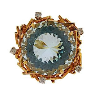 18K Gold Diamond 36ct Aquamarine Ring