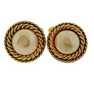 Chanel Vintage Costume Pearl Cufflinks