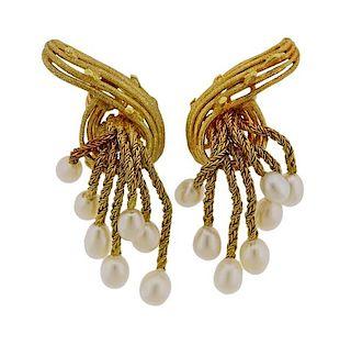 18K 14K Gold Pearl Tassel Earrings