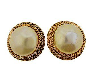 Chanel Costume Pearl Earrings