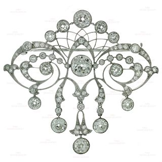 Art Deco Diamond Platinum Filigree Brooch