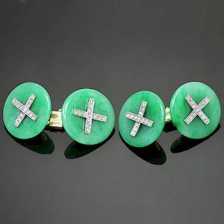 Art Deco Jadeite Jade Diamond Platinum 14k Yellow Gold Cufflinks