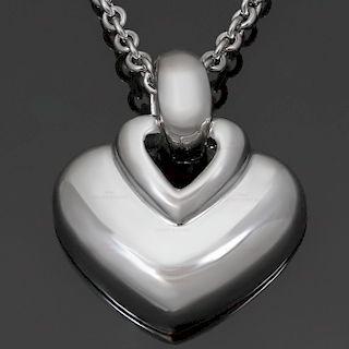 BULGARI 18k White Gold Heart Pendant Necklace