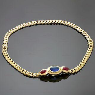 BULGARI Classic Sapphire Ruby 18k Yellow Gold Link Interchangeable Bracelet Necklace