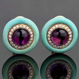 BULGARI Diamond Amethyst Turquoise 18k Yellow Gold Earrings