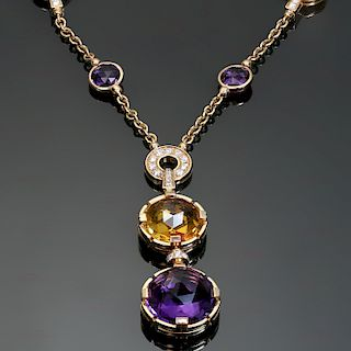 BULGARI Parentesi Amethyst Citrine Diamond 18k Rose Gold Necklace