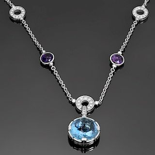 BULGARI Parentesi Cocktail Topaz Amethyst Diamond 18k White Gold Necklace