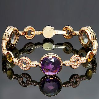 BULGARI Parentesi Diamond Quartz Amethyst 18k Rose Gold Bracelet