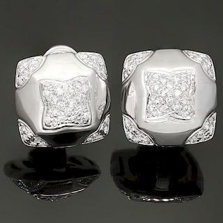 BULGARI Pyramid Diamond 18k White Gold Earrings