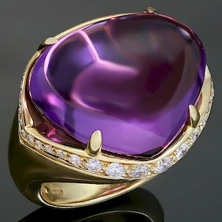 BULGARI Sassi Large Amethyst Diamond 18k Yellow Gold Ring