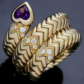 BULGARI Spiga Amethyst Diamond 18k Yellow Gold 3-Row Flexible Ring