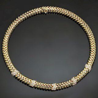 BULGARI Spiga Diamond 18k Yellow Gold Necklace