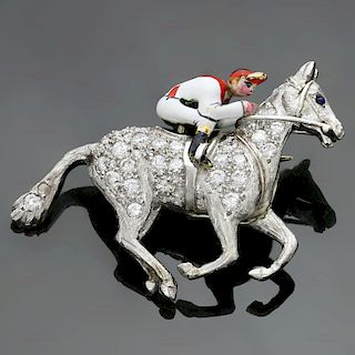 CARTIER Art Deco Diamond Enamel Platinum Horse & Jockey Brooch