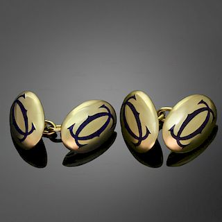CARTIER Blue Enamel 18k Yellow Gold Cufflinks