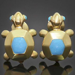 CARTIER Blue Turquoise 18k Yellow Gold Turtle Earrings