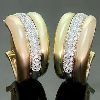 CARTIER Diamond 18k Tri-Color Gold Large Earrings