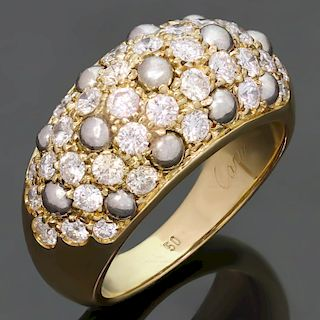 CARTIER Diamond 18k Two-Tone Gold Dome Band Ring