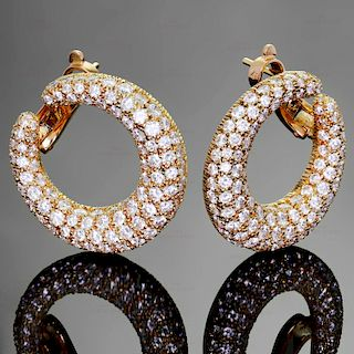 CARTIER Diamond 18k Yellow Gold Hoop Earrings