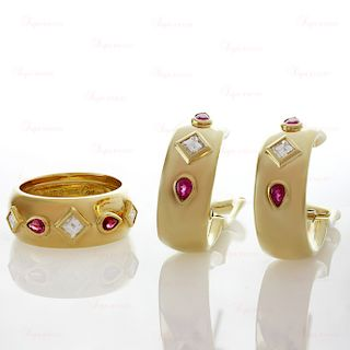 CARTIER Diamond Ruby 18k Yellow Gold Ring & Earrings