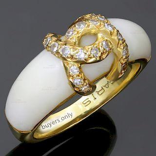 CARTIER Diamond White Coral 18k Yellow Gold Ring. Circa 1970s