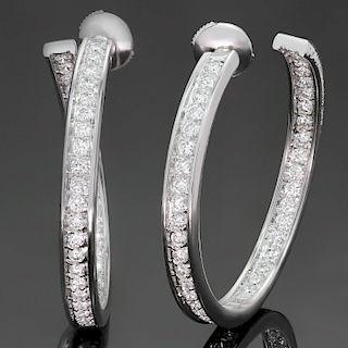 CARTIER Inside Out Diamond 18k White Gold Large Hoop Earrings