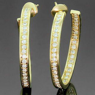 CARTIER Inside Out Diamond 18k Yellow Gold Large Hoop Earrings