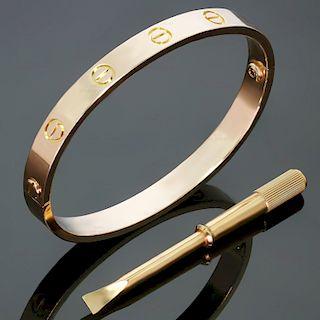 CARTIER Love 18k Rose Gold Bangle Bracelet Size 16 Box Papers