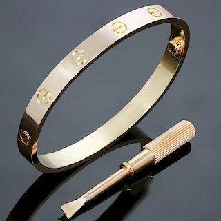 CARTIER Love 18k Rose Gold Bracelet Bangle New Model Size 17 Box Papers